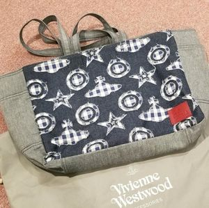 Patched Orb Logo Denim Tote(UNISEX)